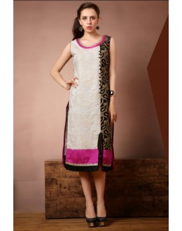 Party Wear Readymade Cream Cotton Kurti - Darpan2025